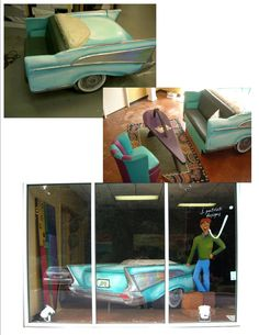 Chevy served as window décor as well as lobby furniture. J Patrick Designs Lobby Furniture, Store Windows, Barber Shop, Corporate Events, Event Decor, Chevy, Toddler Bed, Display, Design