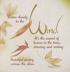 The Wind Whispers. Beautiful Poetry, Beautiful Soul, Wind Quote, Leaf Quotes, Pumpkins For Sale, Nature Quotes, Fall Quotes, Weather Seasons, Lovely Smile