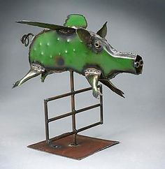"""Flying Pig""  Metal Sculpture"