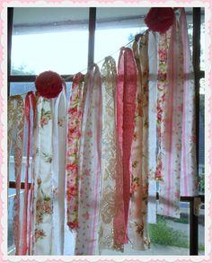 Anthropologie Inspired Vintage Lace Fabric Wedding Garland Garden PINK Roses Rosettes Parls Shower Decoration Banner Bunting