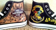Hand Painted Harry Potter Shoes  - Marauder's Map/ Crest on Etsy, $120.00