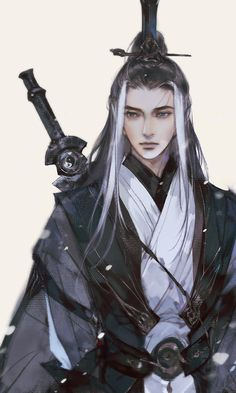 Thuần Dương Gothic Fantasy Art, Final Fantasy Art, Beautiful Fantasy Art, Fantasy Male, Fantasy Artwork, Fantasy Illustration, Character Illustration, Hanfu, Fairy Drawings