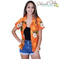 Lady Hawaiian Shirt Orange Hibiscus. Floral Fancy dress costume