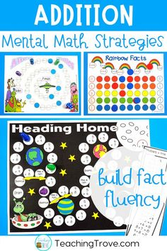 Addition games make learning addition strategies fun. Place in your math centers to help consolidate the mental math strategies you have been teaching to your first and second grade students. Great for math centers, partner work, morning work or extra activities for early finishers. #additionstrategies #additiongames #additionfacts #factfluency