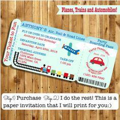 Boarding Pass Invitations, Planes trains automobiles, Planes Trains and Automobiles Invitations, Planes Trains Automobiles party, SET OF 10