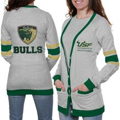 South Florida Bulls Ladies Study Hall Long Sleeve Cardigan - Ash