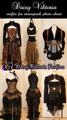 a small collection of steampunk outfits