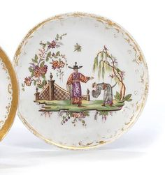 Chinoiseries. An extremely rare and early meissen saucer, circa 1713