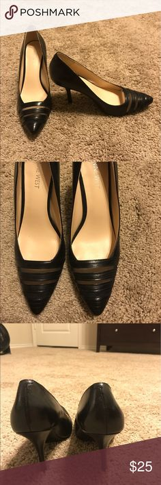 Nine West black heels size 8 1/2 Nine West black pumps/heels 8 1/2; great shape, beautiful see through detail at the front of the heel. I only wore once, no damage to the heel; no scuff marks. Almost brand new. Nine West Shoes Heels