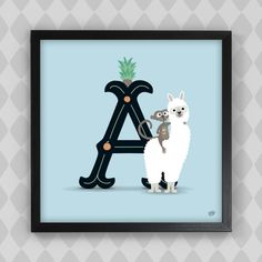 Poster - Bokstaven A i blått. Apa med apelsinjuice på alpacka! Kanske något för en Alva eller Alfred? #barntavla #barnposter #bokstavsposter #namntavla #barnrum #barnrumsinredning #barnrumsinpo