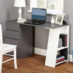 Decorate your office in a sleek way with this stylish Como modern writing desk by Simple Living. Clean lines, a symmetrical and angular accents give this writing desk its unique contemporary style. White Writing Desk, Writing Desk With Drawers, Writing Table, Furniture Deals, Home Office Furniture, Furniture Outlet, Online Furniture, Furniture Design, Mod Furniture