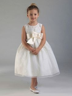 Ivory Shimmering Dotted Sleeveless Dress w/ Satin Bow