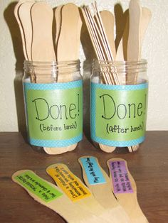 """I found the idea for a """"done jar"""" on pinterest here  and fell in love! Now that it is summer I have time to make my own! Save your peanut ..."""
