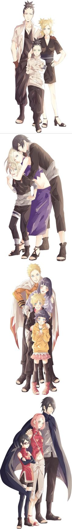 The best part is that this artist draws every single one of them so in character. ShikaTema + Shikadai, SaiIno + Inojin, NaruHina + Boruto + Himawari, SasuSaku + Sarada #naruto: