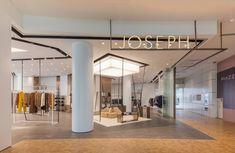 Sybarite Architects Joseph Capitol Piazza Singapore Womenswear Multibrand Menswear Luxury Fashion Retail 02 in 2020 Shop Front Design, Store Design, Design Shop, Mad Design, Visual Merchandising, Retail Signage, Shop Signage, Layout, Signage Design