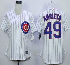 Women's Chicago Cubs Jersey 49 Jake Arrieta Home White 2015 MLB Cool Base Jerseys