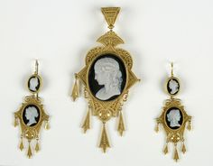 Cameo pendant and earrings set, ca. 1790-1820, gold, chalcedony.  Bequest of Catherine Augustus De Peyster.  NYHS Object Number 1911.65a-c.