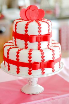Stripes of Little Red Hearts Love Cake
