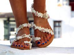 White Beach Wedding SandalsSea Shell SandalsGreek by DelosArt