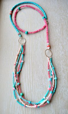Long Multi Strand Coral Pink and Turquoise