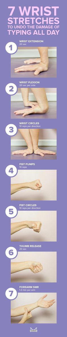 7 Wrist Stretches to Undo The Damage of Typing All Day | Fitness Health And Wellness, Health Tips, Health Fitness, Pilates, Wrist Stretches, Sore Neck, Circulation Sanguine, Carpal Tunnel, Medical