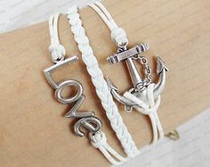 leather  braceletssilver lovet & anchor  braclets by edwinating, $6.99