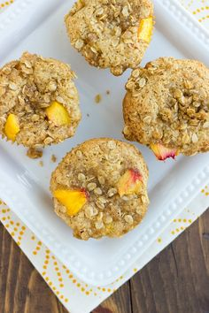 Tender, and moist, these Gluten-Free Peach Streusel Muffins are filled with peaches and topped with a sweet oat streusel. It's been peach, peach, peaches over at my house for the past week or so. We live by a local fruit stand that sells the best peaches. I feel so in love with them that I … Gluten Free Baking, Gluten Free Desserts, Dairy Free Muffins, Peach Muffins, Gluten Free Peach, Fruit Stands, Unsweetened Applesauce, Streusel Topping