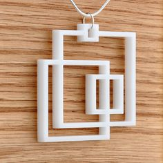 PLASTIC ACRYLIC LASERCUT Square Necklace Pendant Minimalist by moderngirljewelry on Etsy