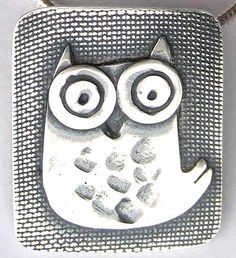 owl pendant  2.5 x 2 cms  sterling silver