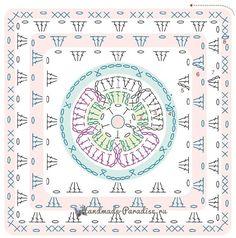 Схема вязания бабушкиного квадрата с объемной розой в центре