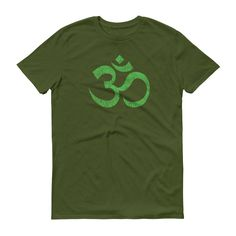 Om Ohm Yoga Symbol Distressed LIME GREEN Short-Sleeve T-Shirt