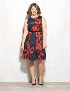 Plus Size Belted Floral Fit-and-Flare Dress