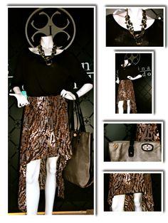 """Top """"Jordania"""" y falda """"Vegas"""" by Carolina Izquierdo, cartera Me Accessories"""
