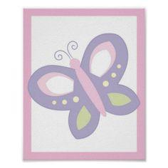 Pink & Purple Butterfly Nursery Wall Art Print