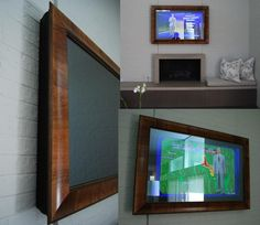 Custom frame your TV using a two-way mirror in front of the screen, so it's a beautiful framed mirror when turned off! Two Way Mirror, Tv Placement, Hanging Artwork, Picture Frames, Tv Frames, Framed Tv, Thinking Outside The Box, Home Decor Inspiration, Interior Decorating