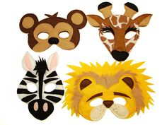 This set of 4 safari animals masks is designed for everyday fun, great for dress up and pretend play, ideal gift, perfect for themed birthday