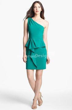 Teal one shoulder sleeveless short sheath, ruffle peplum stretch chiffon bridesmaid dress.
