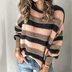 Size Chart Bust Length Sleeve cm inch cm inch cm inch S 90 60 49 M 94 61 50 L 98 62 51 XL 102 63 52 106 64 53 Specification: Color: Black White, Pink Size: Material: Polyester Sleeve Type: Long Sleeve Pattern: Stripe Gen Sweater Fashion, Long Sleeve Sweater, Types Of Sleeves, Pullover Sweaters, Sweaters For Women, Color Black, Black White, Clothes For Women, Scrappy Quilts
