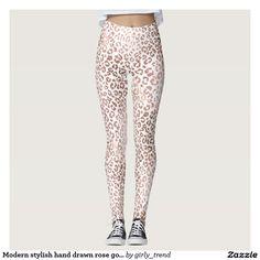 Modern stylish hand drawn rose gold leopard print leggings