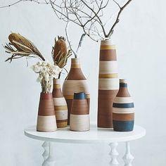 Steven Alan Stripe Vases via West Elm. Handcrafted by Nicaraguan potters from fair trade collective Chaka Market Bridge. Handmade ceramic.