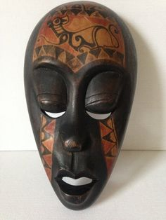 Traditional Balinese Hand Carved-painted Closed Eye Wooden Mask-wall decor.  This is a very attractive piece that looks fabulous mounted on a wall.  Most likely originated in Lombok, an Indonesian island east of Bali.  There is a wire attached to the back of the mask, for hanging on a wall.  In really good vintage condition.  If you are looking for something a little more unusual to jazz up your apartment, this could be the piece for you!  I do have other masks in stock (see listings) and I…