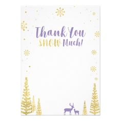 Purple & Gold Winter Matching Thank you note card - invitations custom unique diy personalize occasions