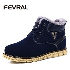 FEVRAL Luxury Brand Fashion Men's Winter Snow Boots Ankle Thick Plush Warm Lace Up Leather Footwear Comfortable Causal Shoes Man #Affiliate