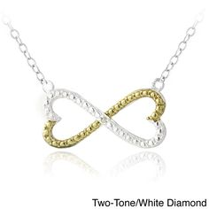 Enduring Jewels DB Designs Sterling Silver Diamond Accent Infinity Hearts Necklace (Two-Tone/ White Diamond), Women's, Size: 18 Inch (dotted)
