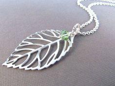 Leaf Necklace Silver Filigree with Birthstone Fall by IrinSkye, $20.00