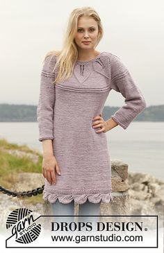 Ravelry: 151-6 Orchid Bloom - Dress with round yoke and lace pattern in Big Merino pattern by DROPS design