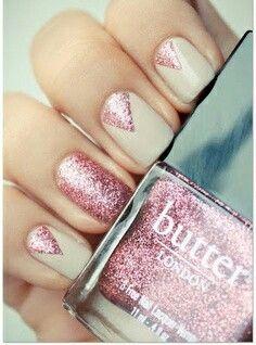 Glitter Nail Art (love that COLOR!) Love the Butter nail polish. Frensh Nails, Prom Nails, Nude Nails, Hair And Nails, Wedding Nails, Neutral Nails, Polish Nails, Beige Nail, Nail Polishes