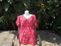 St John's Bay Plus Size 3X Pink Floral Beaded Short Sleeve Top #StJohnsBay #Blouse #Casual