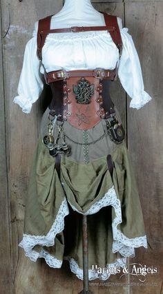 Cthulhu Steampunk corsé cinturón Real piel acero deshuesado corsé para 31 / 32 pulgadas de cintura