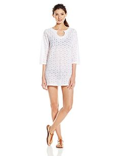 53456aacf4 Laundry by Shelli Segal Womens Spellbound Crochet Tunic Cover Up White  Medium  gt  gt